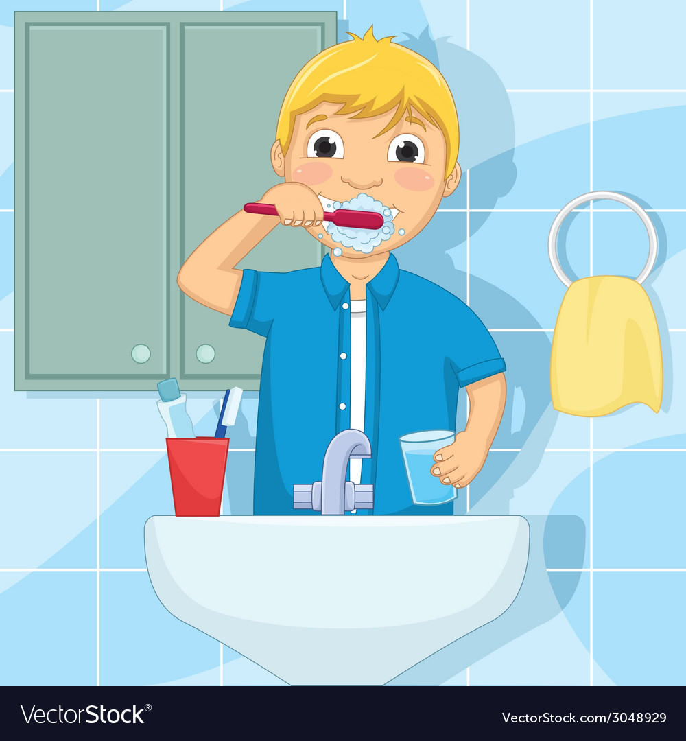 Little boy brushing teeth vector | Price: 1 Credit (USD $1)