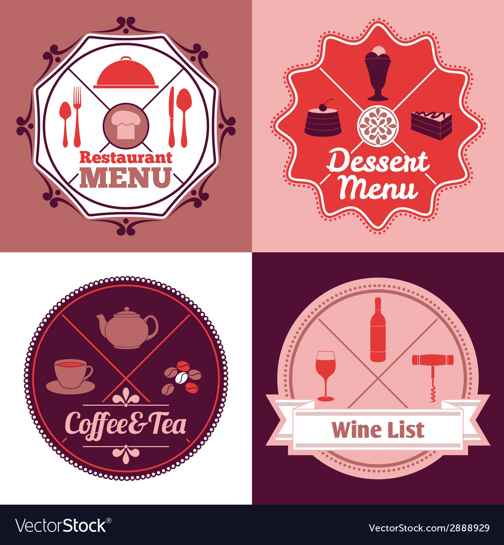 Restaurant menu emblem set color vector | Price: 1 Credit (USD $1)