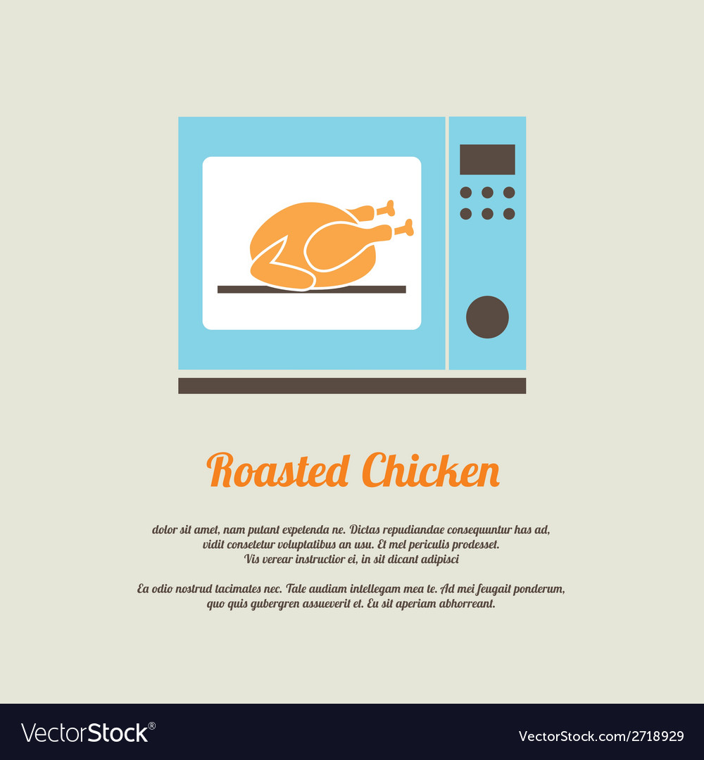Roasted chicken in oven vector | Price: 1 Credit (USD $1)