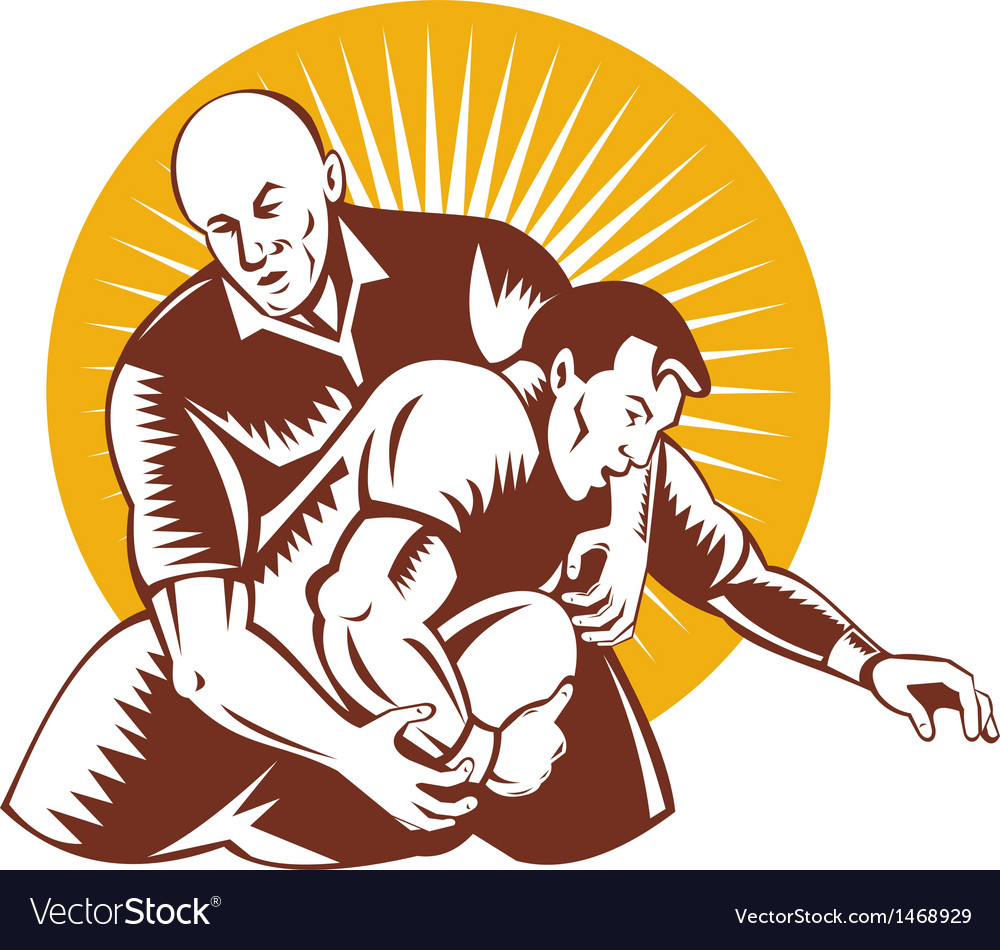 Rugby player tackle the ball vector | Price: 1 Credit (USD $1)