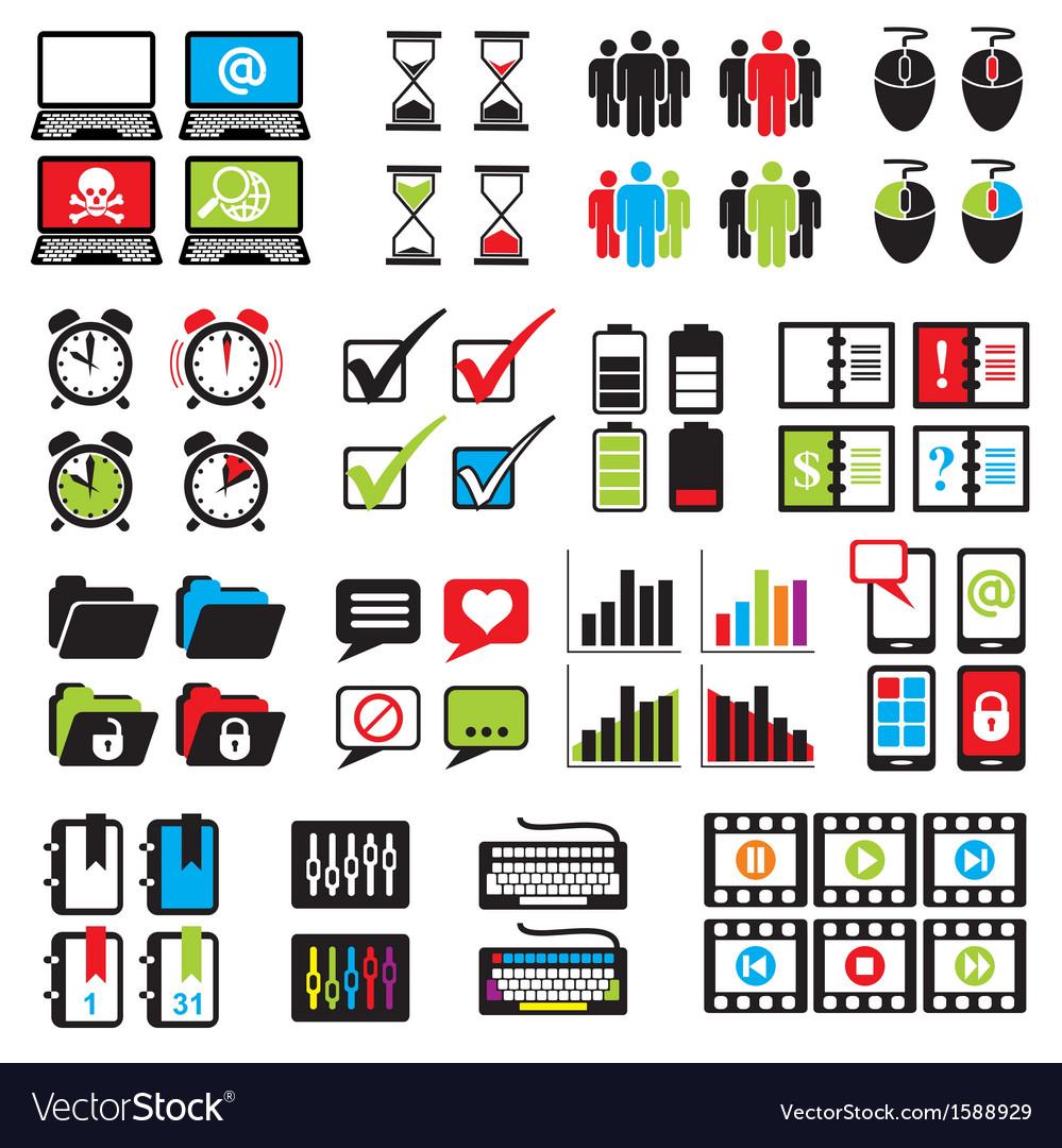 Set web computer icons vector | Price: 1 Credit (USD $1)