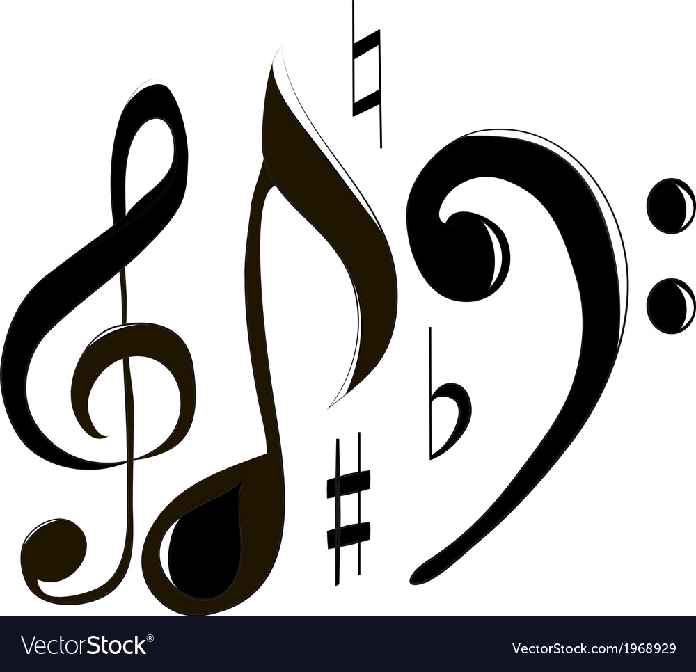 Treble clef and note vector | Price: 1 Credit (USD $1)