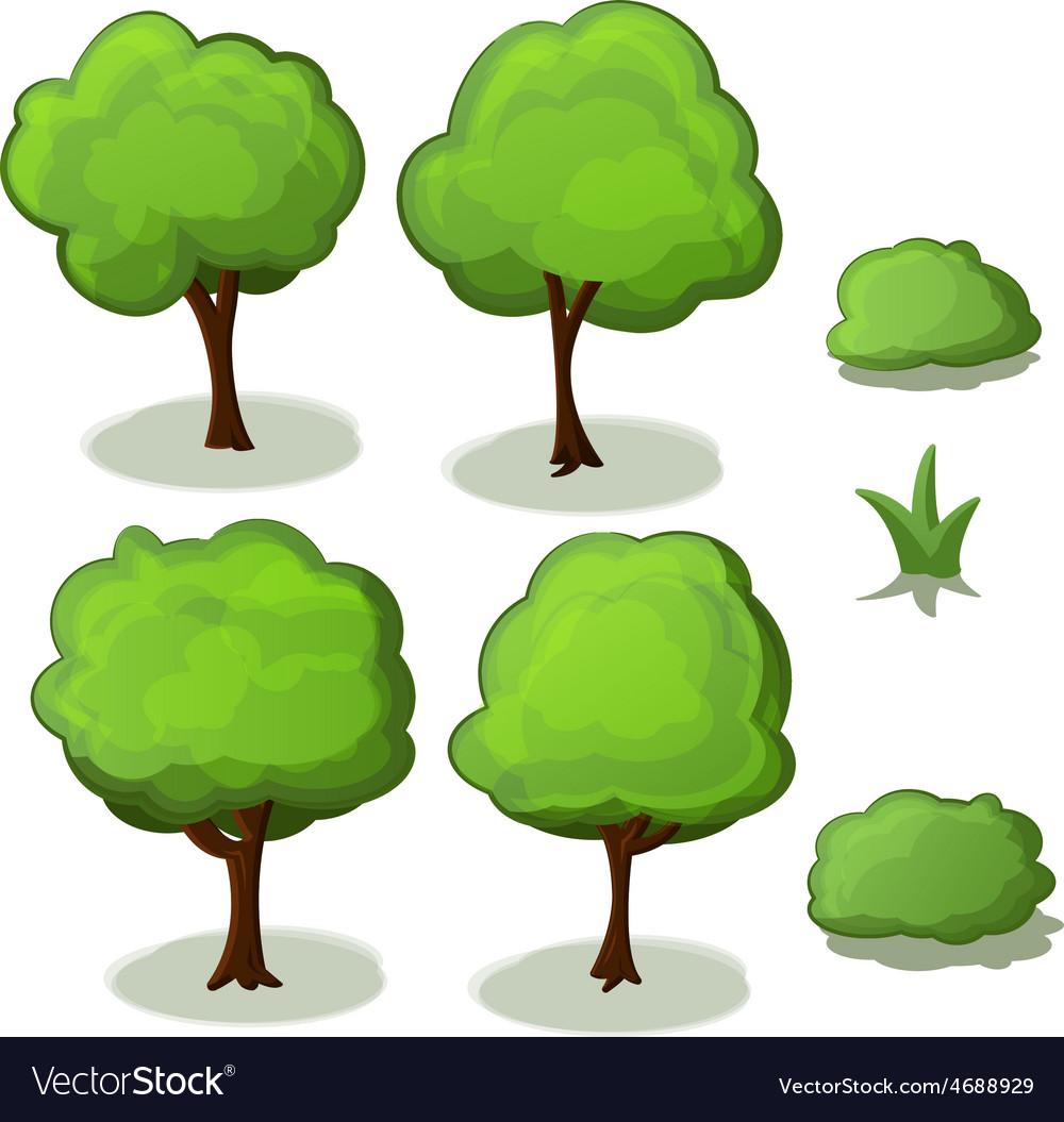 Trees set green cartoon vector | Price: 1 Credit (USD $1)
