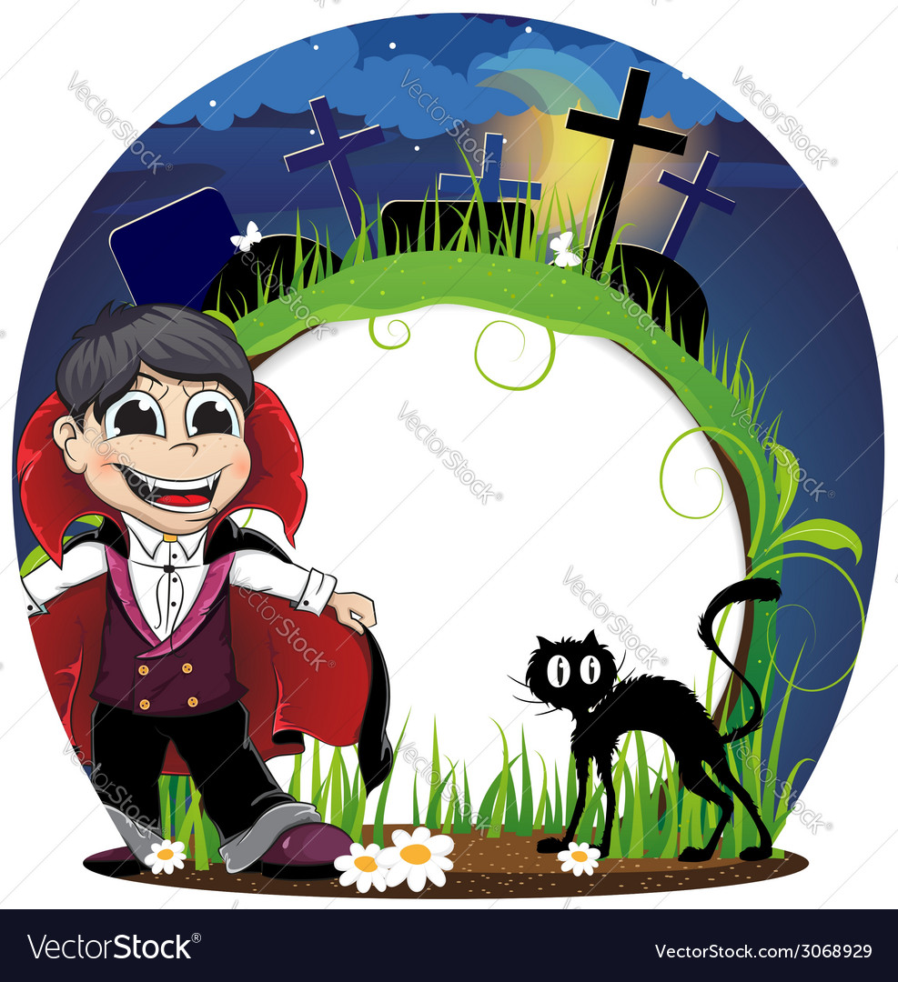 Vampire and black cat on a cemetery vector | Price: 1 Credit (USD $1)