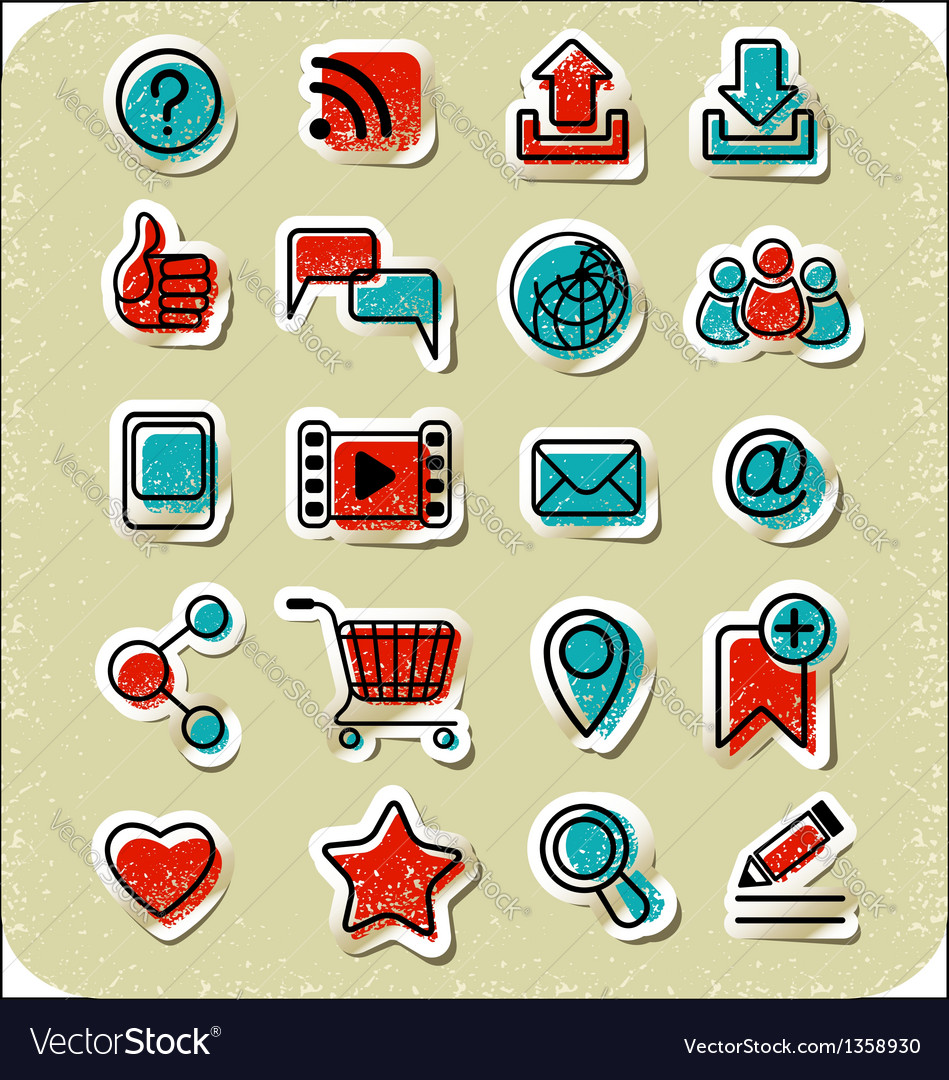 20 internet communication stickers vector | Price: 1 Credit (USD $1)