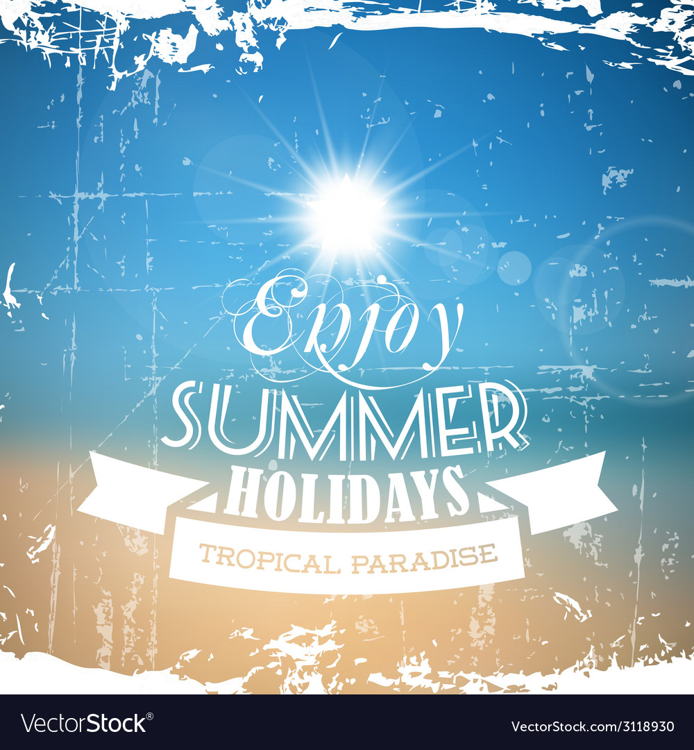 Abstract summer poster with beach background vector | Price: 1 Credit (USD $1)