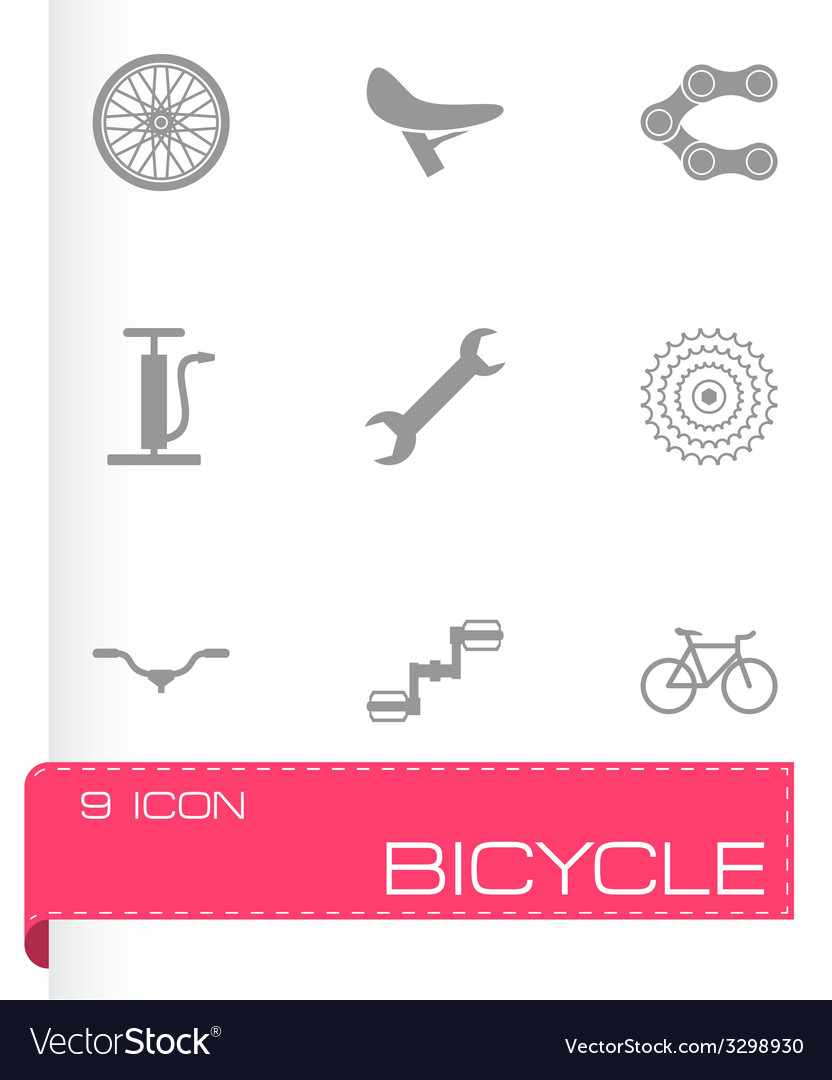 Black bicycle icons set vector | Price: 1 Credit (USD $1)