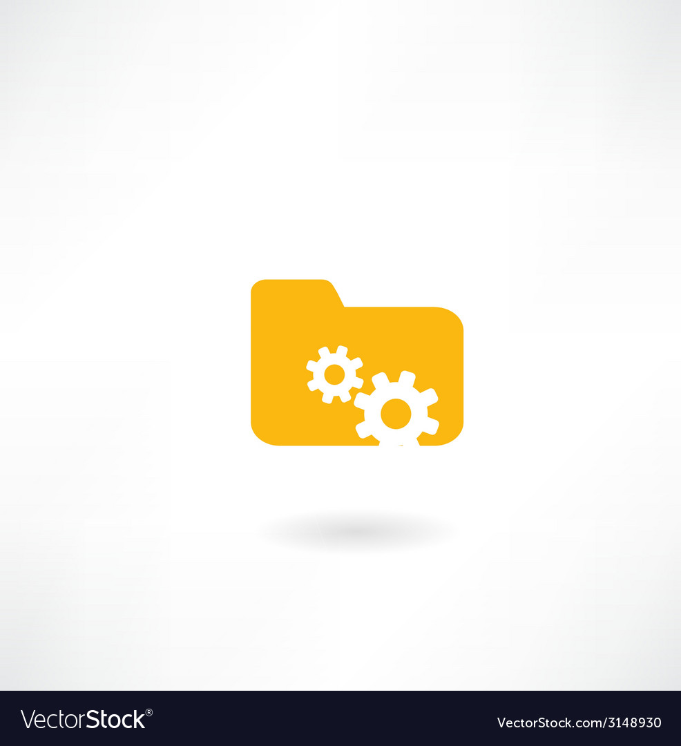 Folder icon with cogs vector | Price: 1 Credit (USD $1)