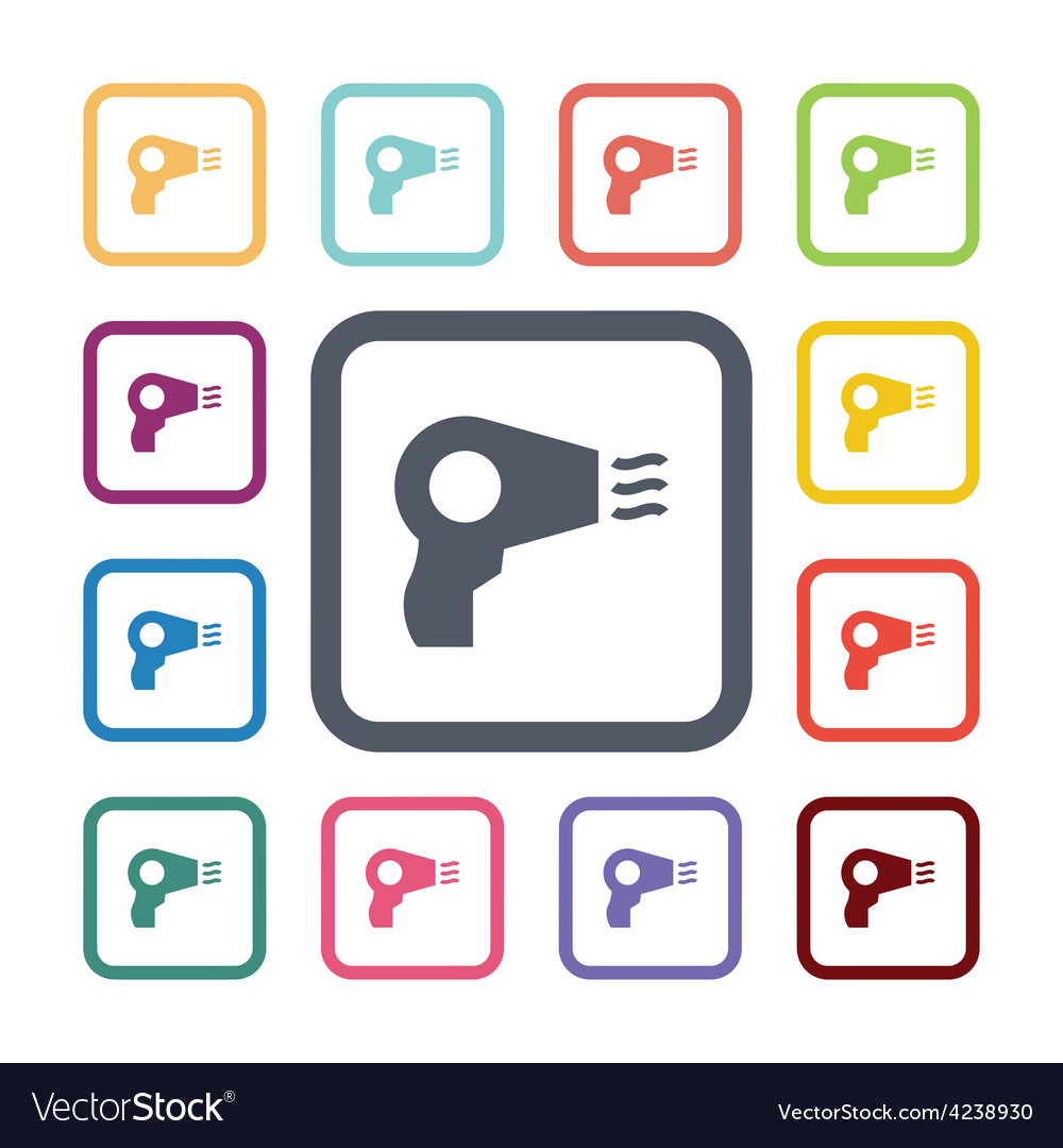 Hairdryer flat icons set vector | Price: 1 Credit (USD $1)