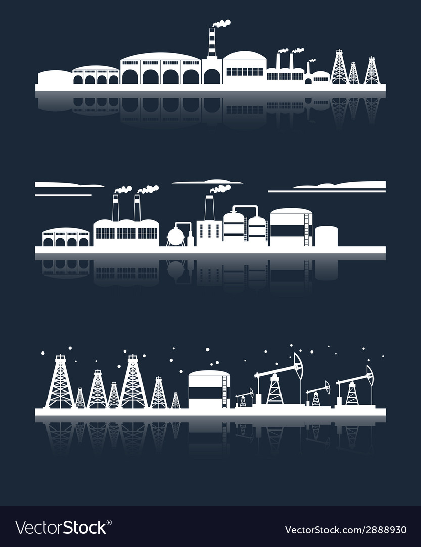 Industrial city skyline banners vector | Price: 1 Credit (USD $1)