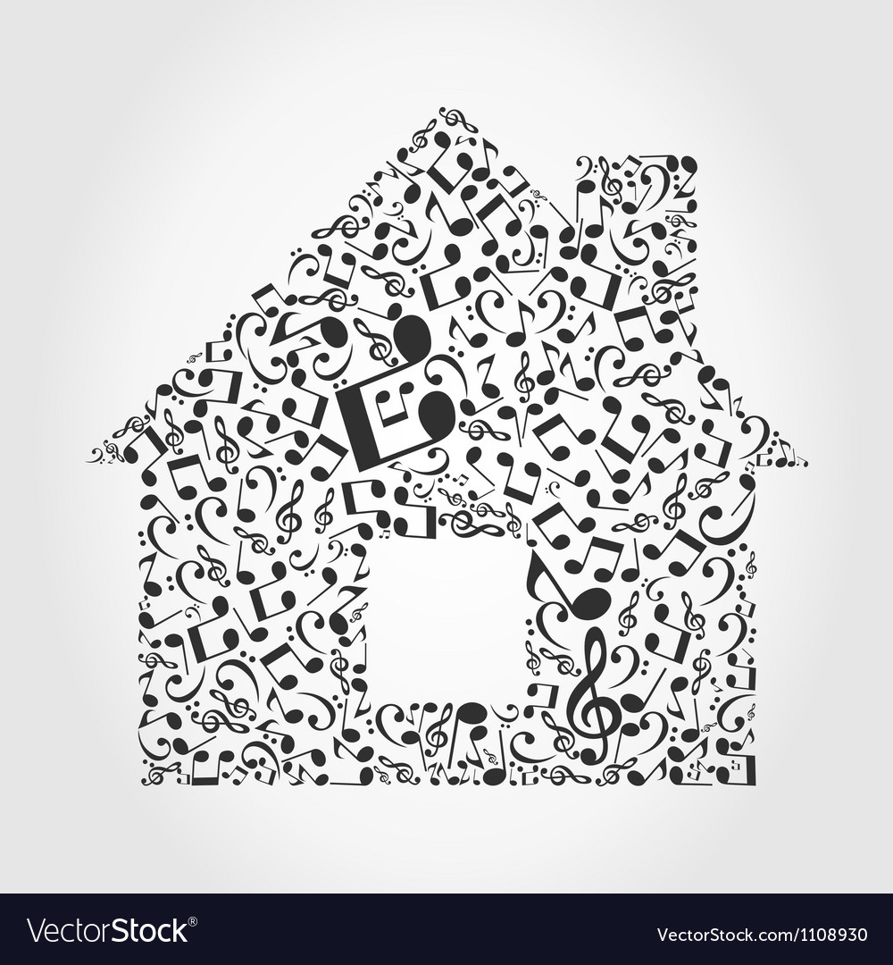 Music the house vector | Price: 1 Credit (USD $1)