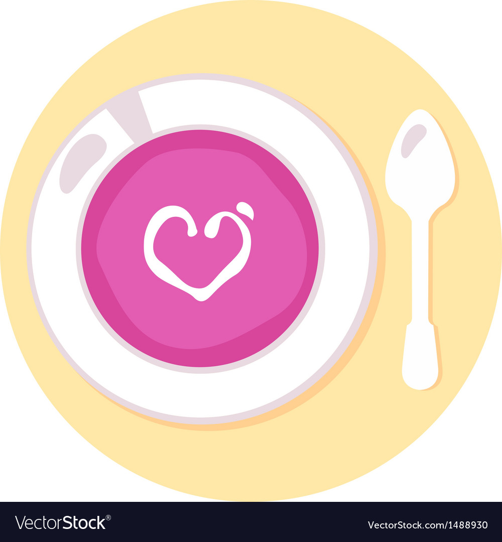 Pink love soup isolated on orange background vector | Price: 1 Credit (USD $1)