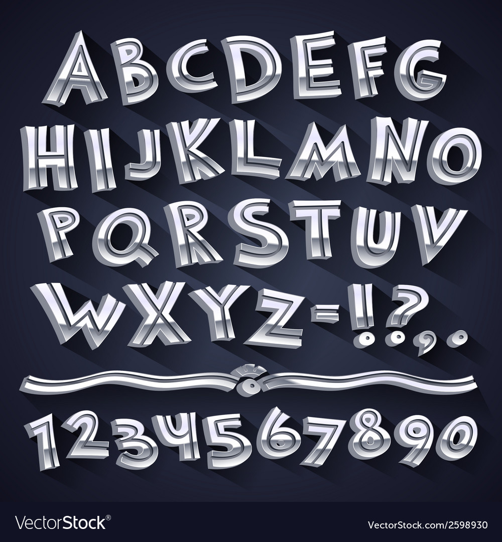 Silver retro 3d font with strips vector
