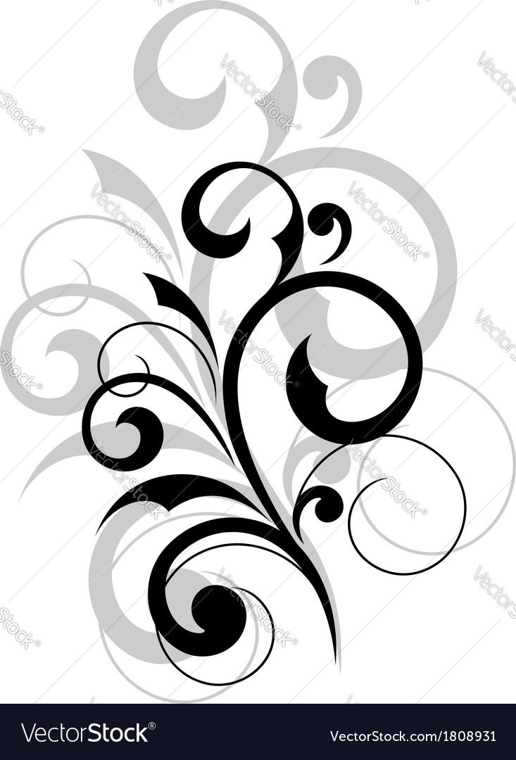 Elegant scrolling foliate design element vector | Price: 1 Credit (USD $1)