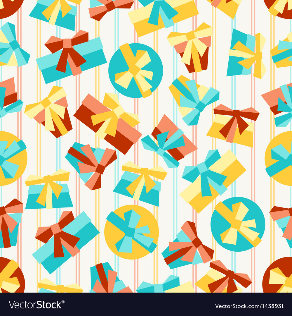 Happy birthday party seamless pattern with gifts vector | Price: 1 Credit (USD $1)