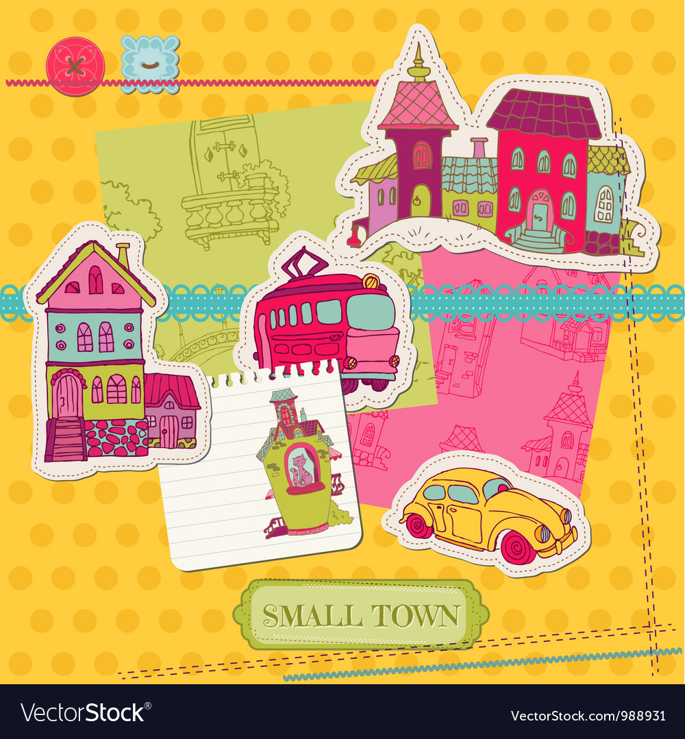 Little town scrap - for scrapbooking and design vector | Price: 1 Credit (USD $1)