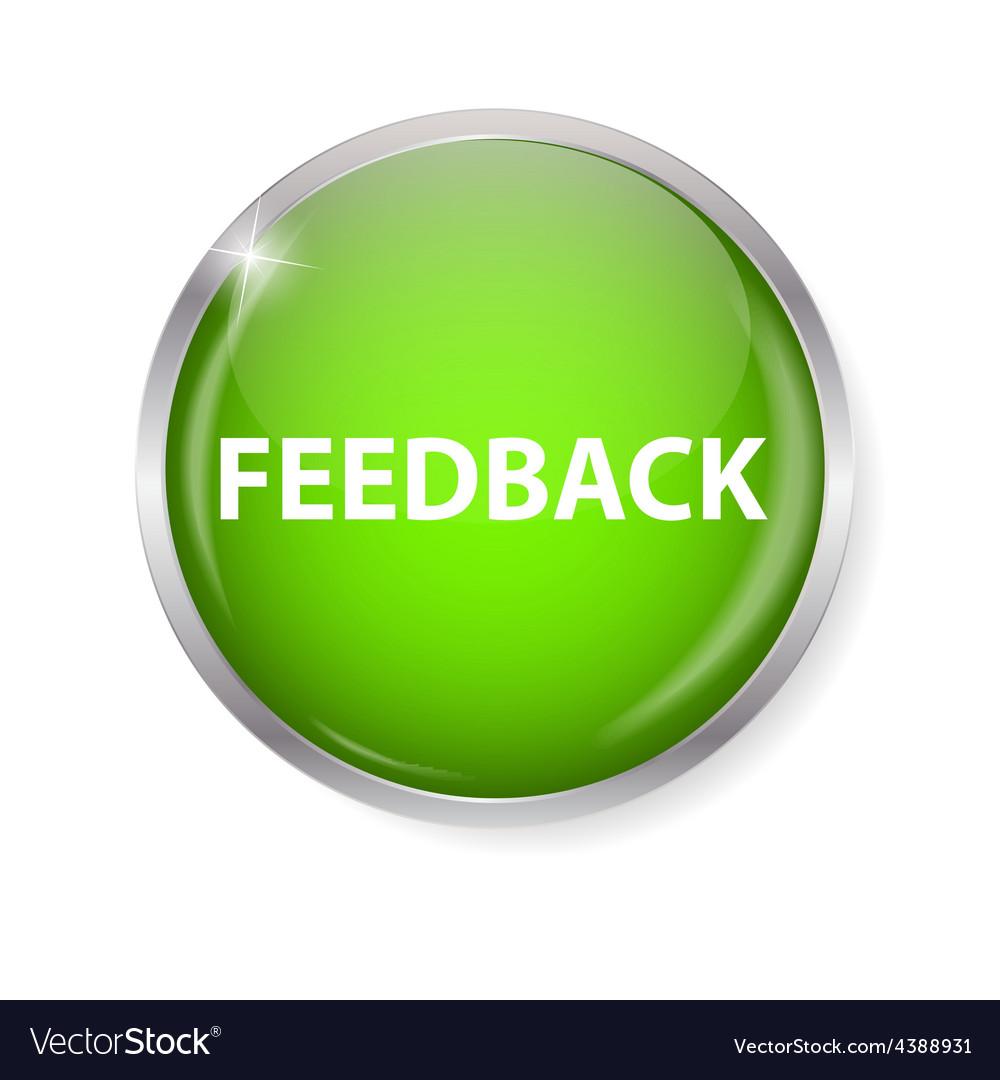 Realistic glossy feedback computer icon button vector | Price: 1 Credit (USD $1)