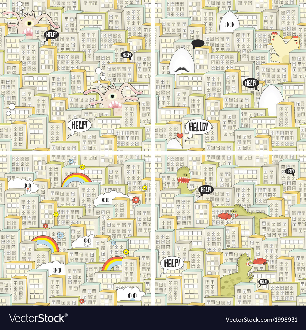 Set of seamless patterns with hungry monsters vector | Price: 1 Credit (USD $1)