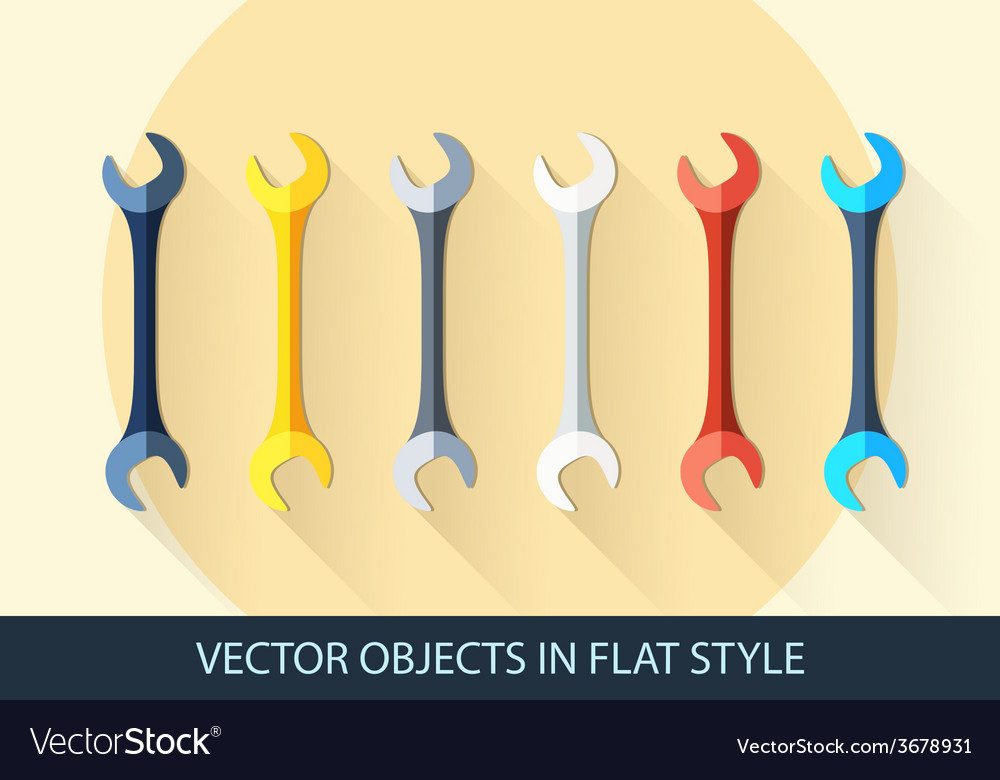 Set of wrench key sign icon service tool symbol vector | Price: 1 Credit (USD $1)
