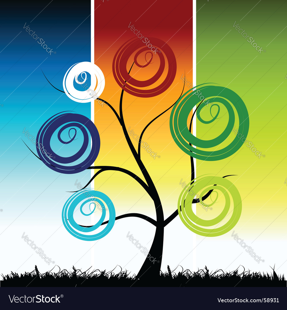Tree silhouette color background vector | Price: 1 Credit (USD $1)