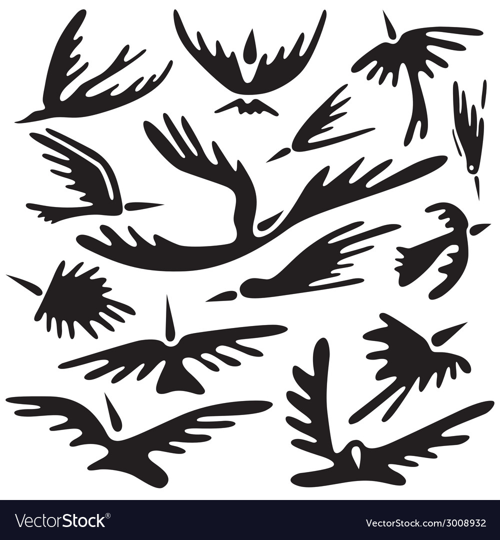Birds abstract symbols vector | Price: 1 Credit (USD $1)