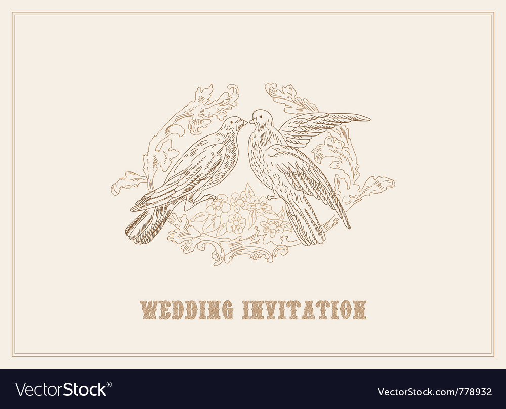 Birds in love - beautiful card with place for your vector | Price: 1 Credit (USD $1)