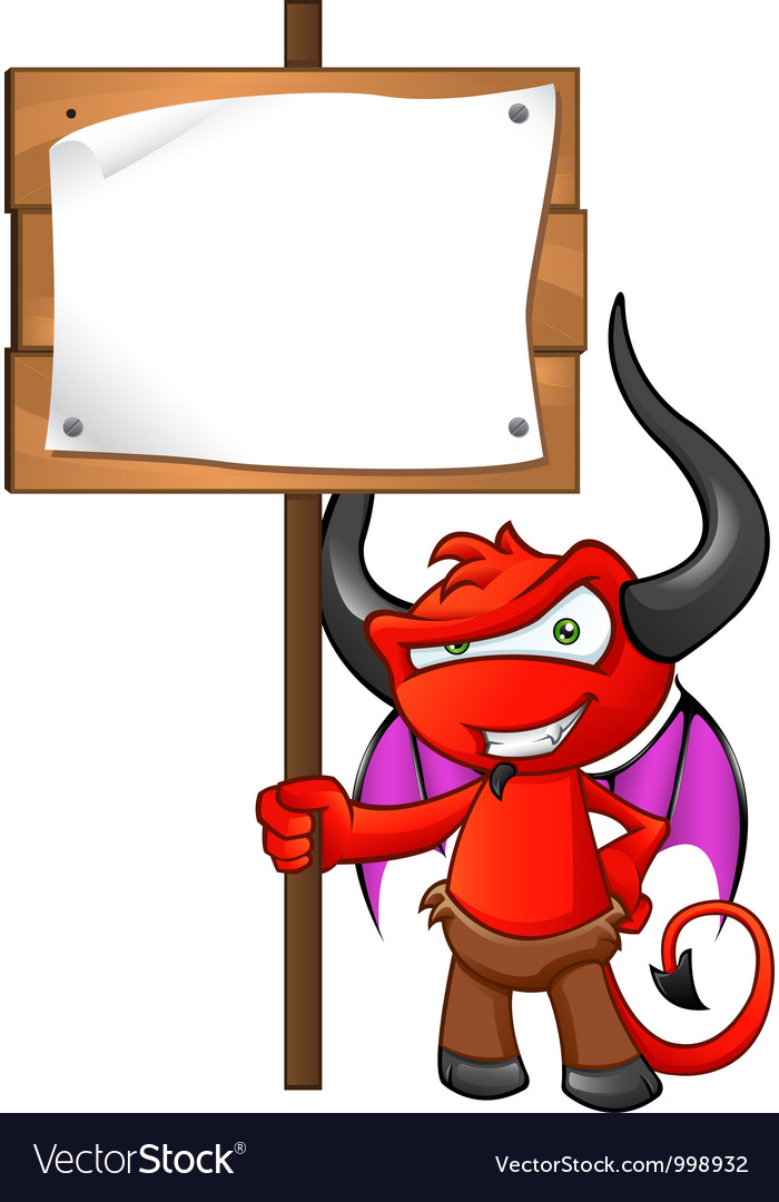 Devil mascot holding sign vector | Price: 1 Credit (USD $1)