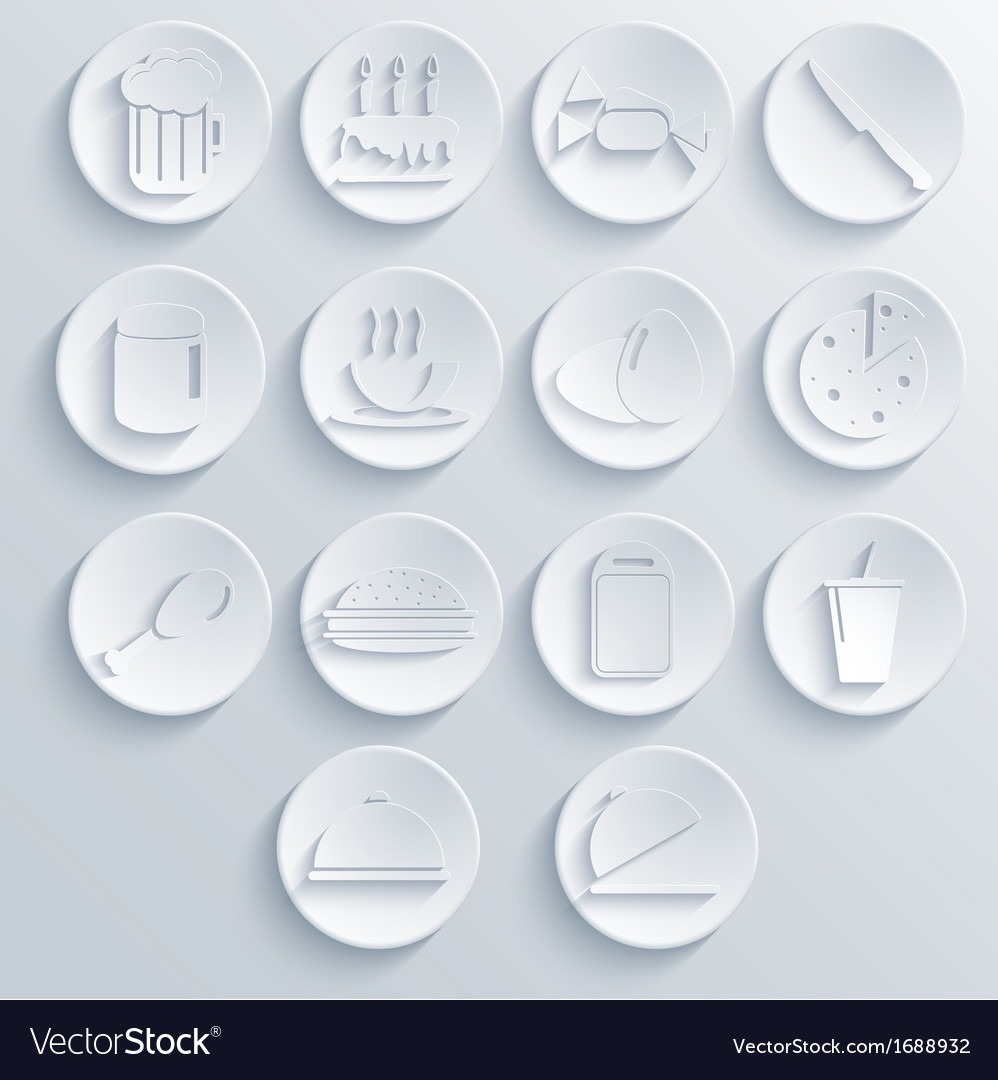 Food icon set on blue background eps10 vector | Price: 1 Credit (USD $1)