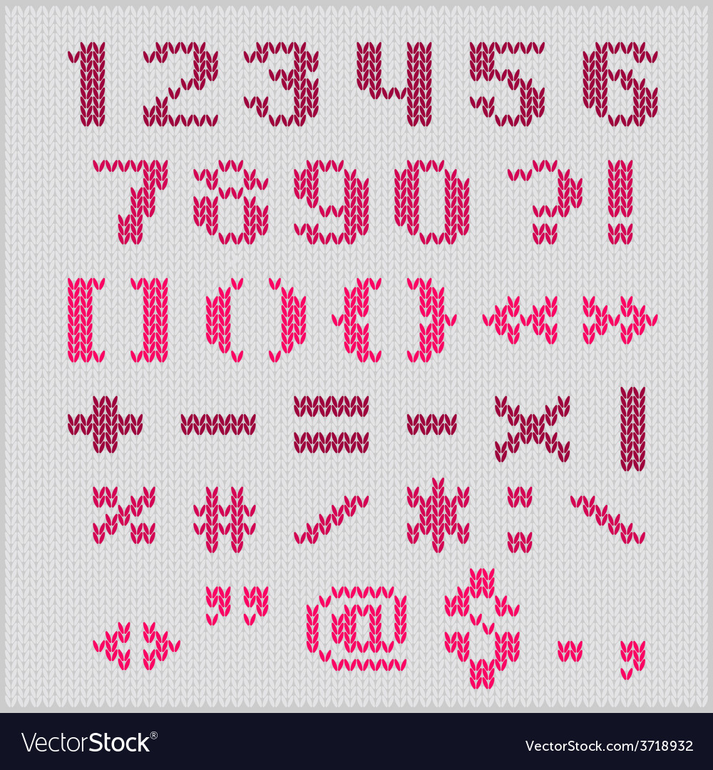 Knitted alphabet red bold sans serif vector | Price: 1 Credit (USD $1)