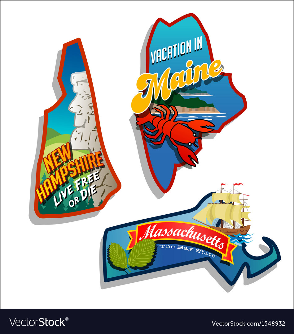 Maine new hampshire massachusetts vector | Price: 3 Credit (USD $3)