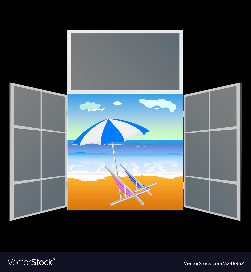 View from the window on the paradise beach vector | Price: 1 Credit (USD $1)