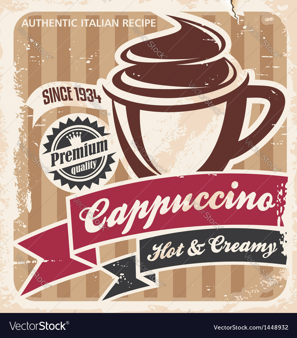 Vintage cappuccino poster vector | Price: 1 Credit (USD $1)