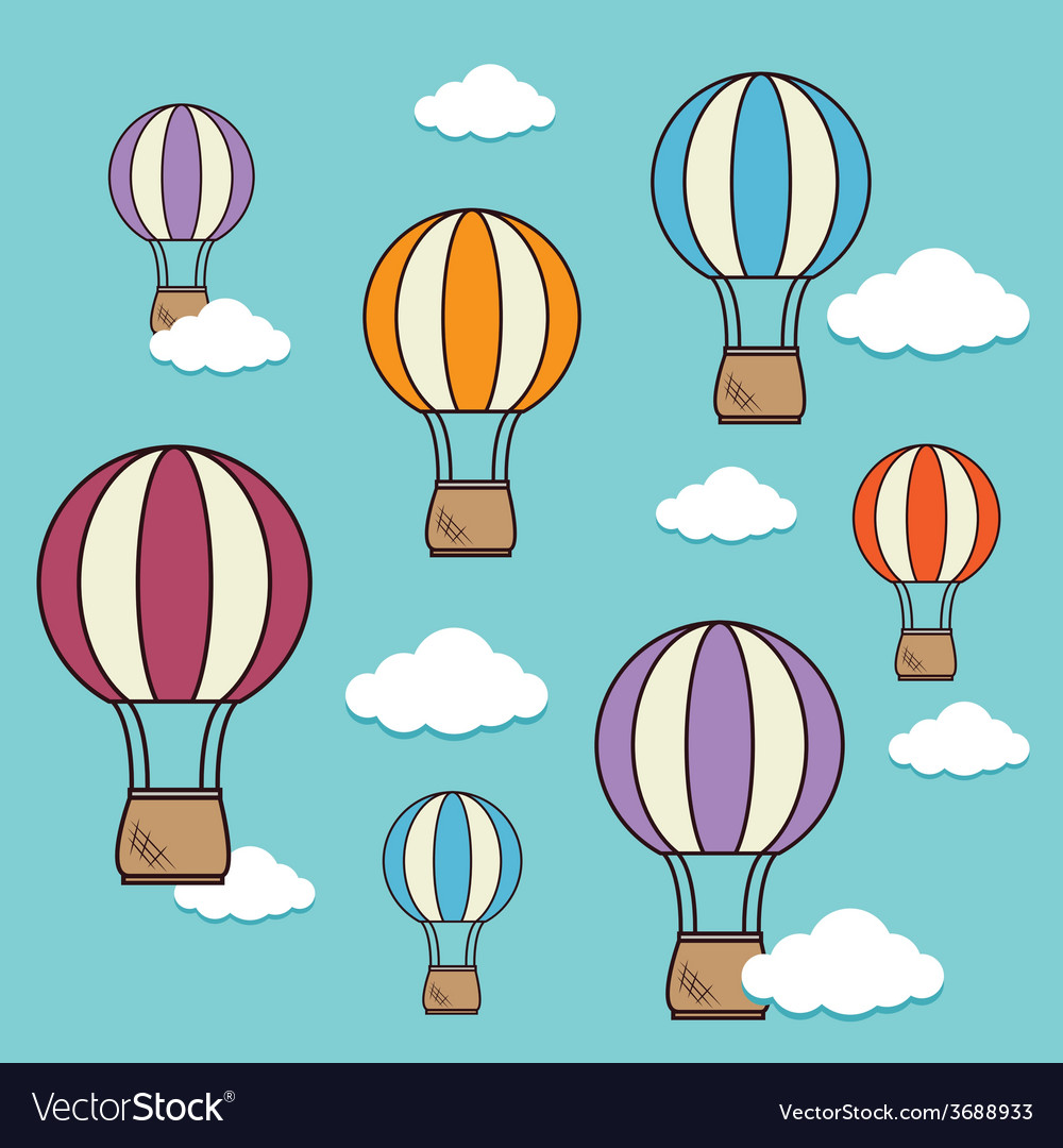 Airballoon design over cloudscape background vector   Price: 1 Credit (USD $1)