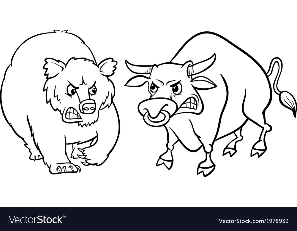 Bear and bull market cartoon vector | Price: 1 Credit (USD $1)