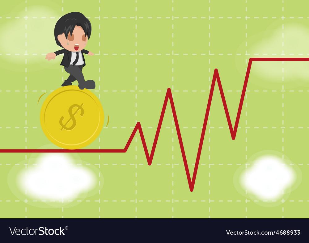 Business man walk gymnastics risky stock market vector | Price: 1 Credit (USD $1)