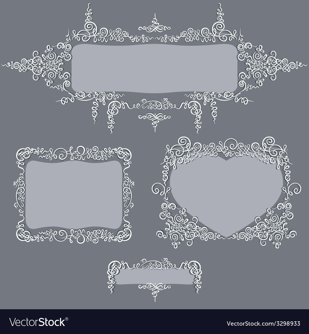 Calligraphy set frames grey vector | Price: 1 Credit (USD $1)