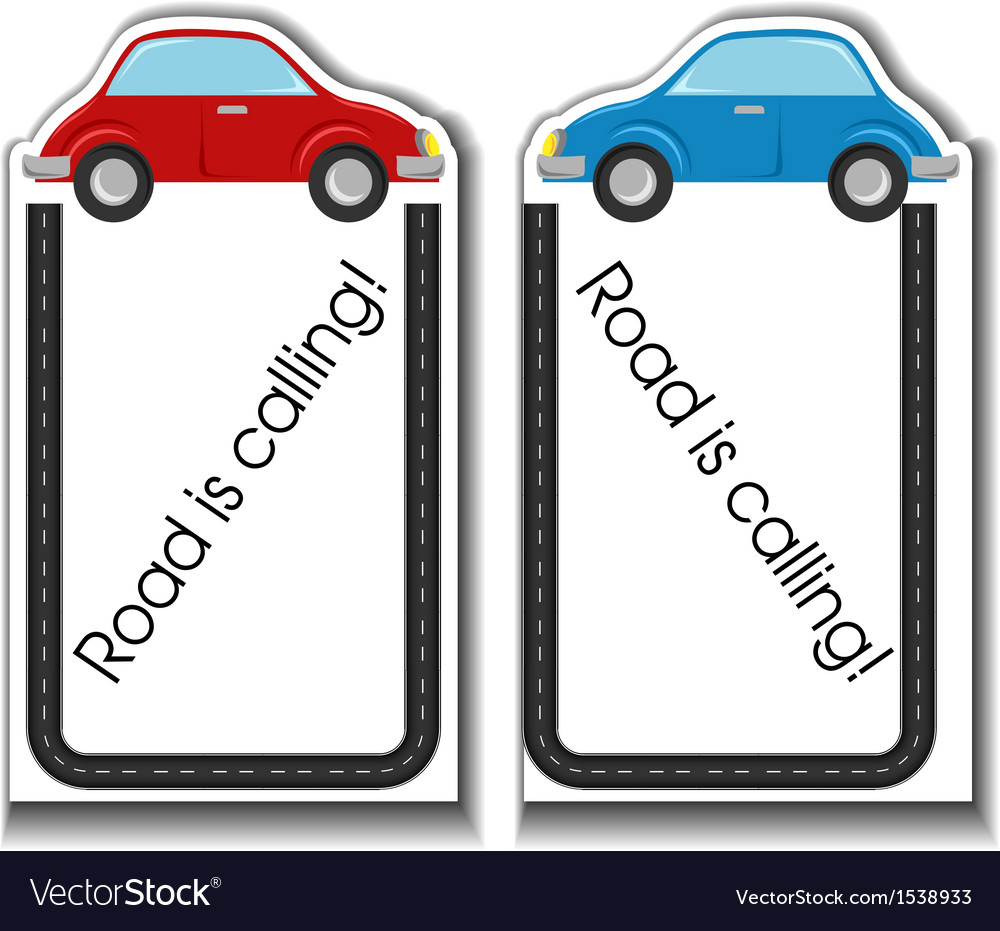 Cartoon cards with cars and road border vector | Price: 1 Credit (USD $1)