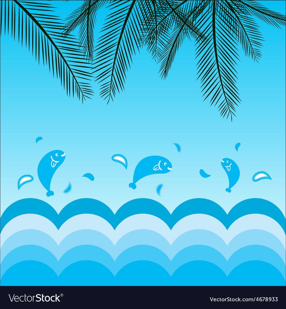Coconut leafs and sea background vector | Price: 1 Credit (USD $1)