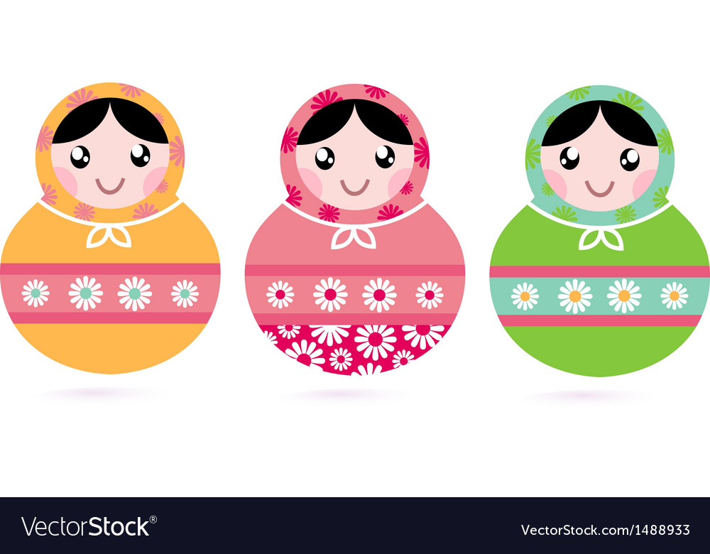 Cute floral colorful matryoshka set vector | Price: 1 Credit (USD $1)