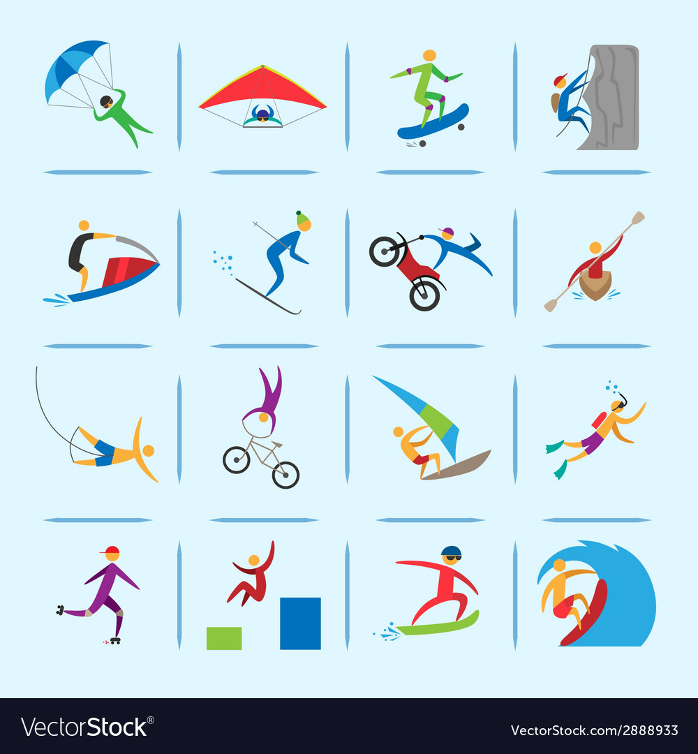 Extreme sports icons vector   Price: 1 Credit (USD $1)