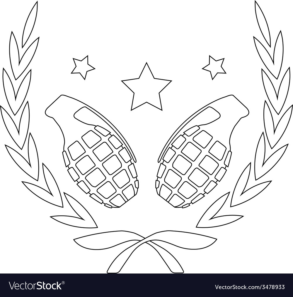 Grenades and stars in laurel wreath line-art vector | Price: 1 Credit (USD $1)