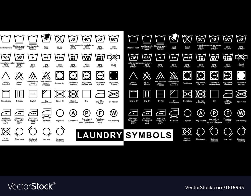 Icon set of laundry symbols vector | Price: 1 Credit (USD $1)
