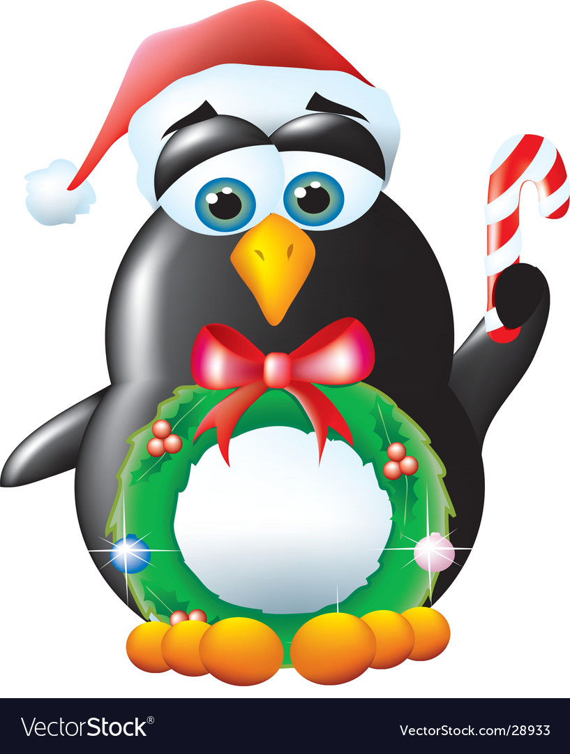 Penguin santa vector | Price:  Credit (USD $)