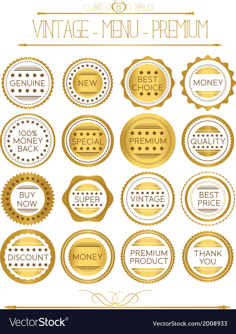 Set of gold badges and labels vector | Price: 1 Credit (USD $1)