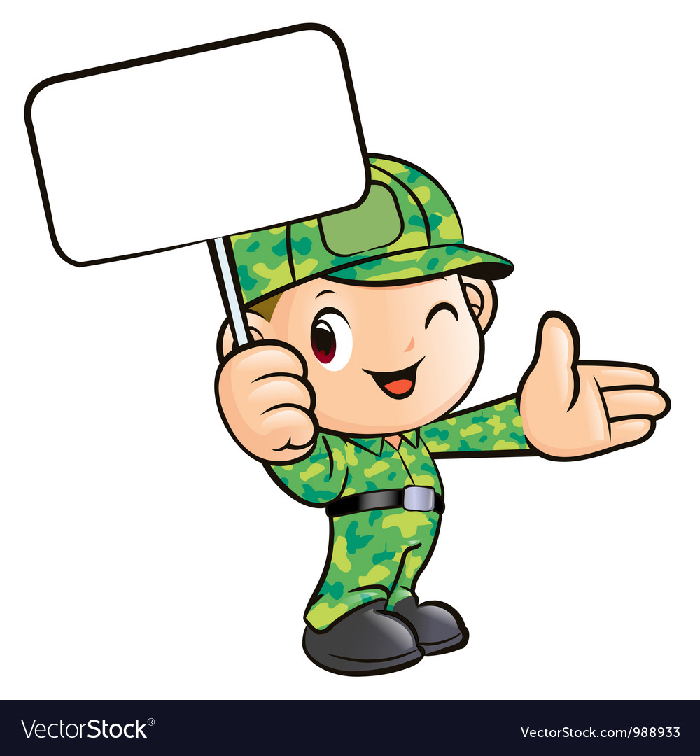 The soldier holding the signs vector | Price: 3 Credit (USD $3)