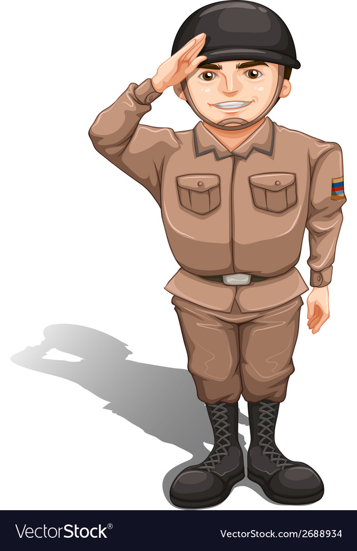 A brave soldier doing a hand salute vector | Price: 1 Credit (USD $1)