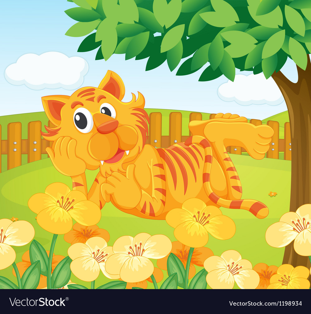 A tiger in the fenced garden vector | Price: 1 Credit (USD $1)