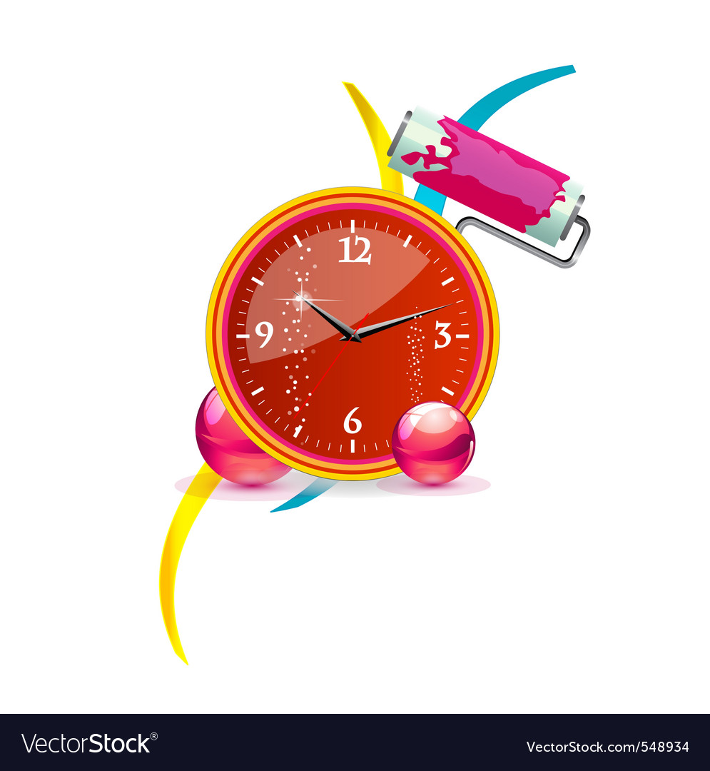 Abstract and swirl clock red color vector | Price: 1 Credit (USD $1)