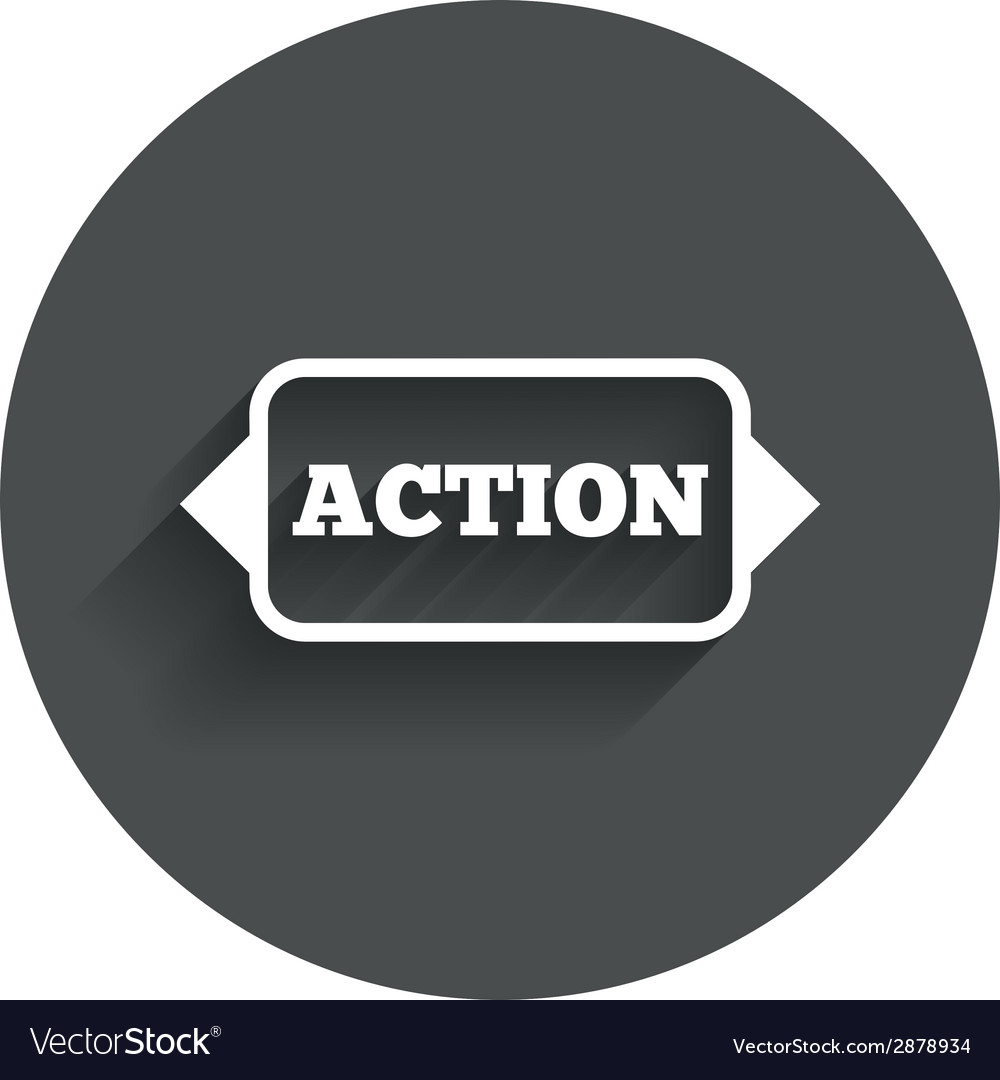 Action sign icon motivation button with arrow vector | Price: 1 Credit (USD $1)