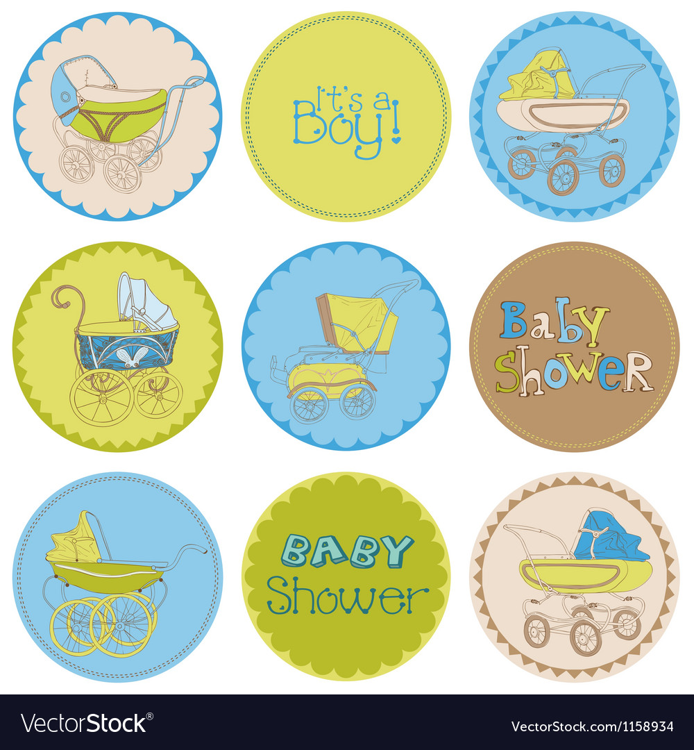 Baby boy shower party set vector | Price: 1 Credit (USD $1)
